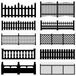Fence Picket Wooden Wired Brick Garden Park Yard — Stock Vector