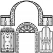 Vector de stock : Entrance Gate Door Fence Vintage Retro Ancient Garden