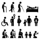 Necessitante disable incinta bambino di priorità — Vettoriale Stock