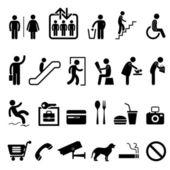 Public signe symbole d'icône de construction du centre commercial — Vecteur