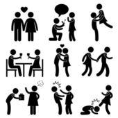 Minnaar paar liefde voorstel knuffel boos klap kick — Stockvector
