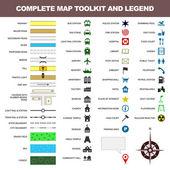 Zestaw narzędzi elementu mapy ikona legenda symbol znak — Wektor stockowy