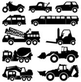 Excavator Truck Van Limousine Lorry Car Forklift Vehicle — Stock Vector