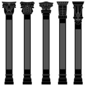 Pillar column antique ancient old roman greek architecture — Stock Vector