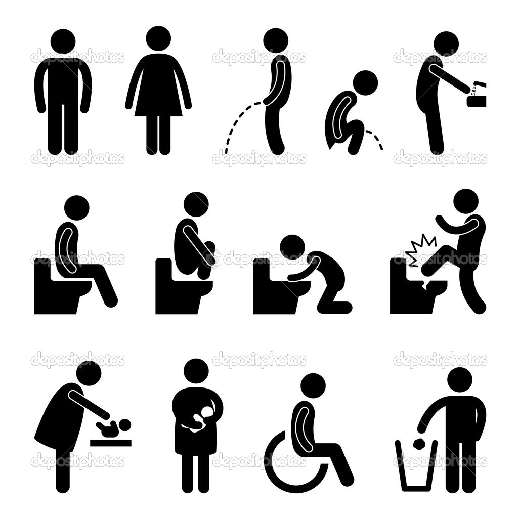 A set of public toilet pictogram.  Stock Vector #6184259