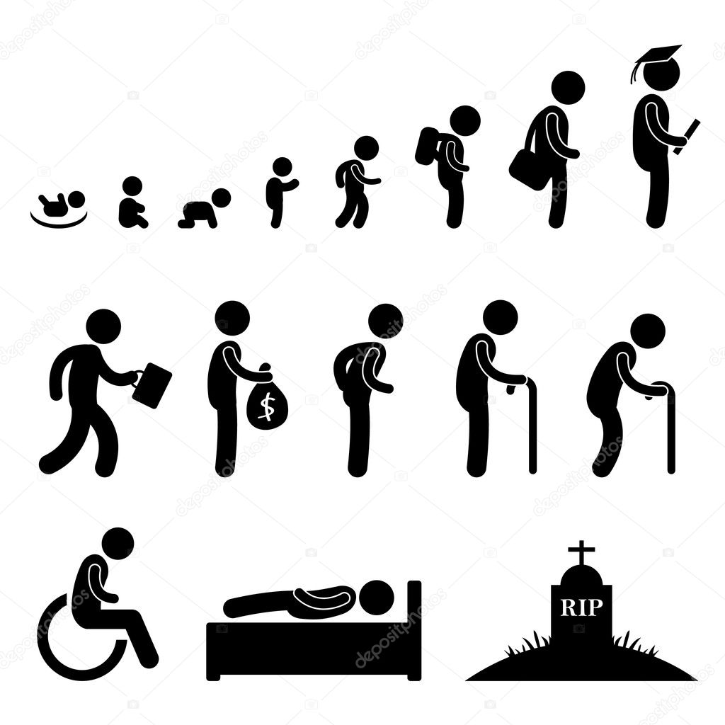 Human life cycle in pictogram style. — Stock Vector #6184268