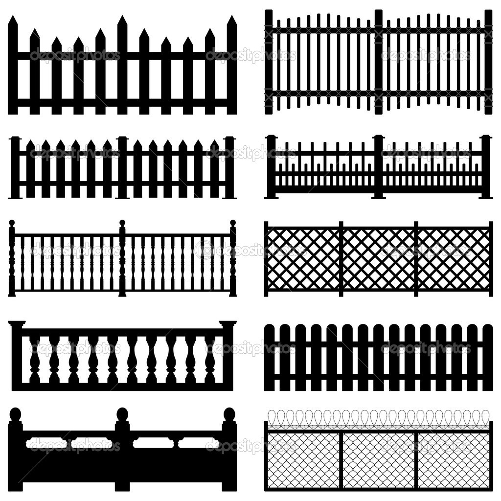 A set of fences and picket for garden and yard. — Stock Vector #6184312