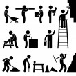 Working Construction Hard Labor Pictogram Icon Symbol Sign — Stock Vector