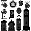 Clock Time Antique Vintage Ancient Classic Old Traditional Retro — Stock Vector
