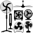 Stock Vector: Standing Table Ceiling Fan Design