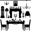 Dining Area Traditional Old Antique Furniture Interior Design — Vector de stock