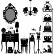 Woman Cosmetic Accessories Room Furniture — Imagen vectorial