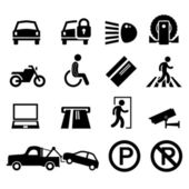 Car Park Parking Area Sign Symbol Pictogram Icon Reminder — Stock Vector