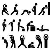 Muž sportovní cvičení strečink piktogram ikonu symbolu — Stock vektor