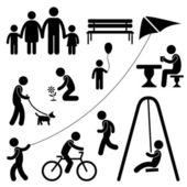 男子家庭儿童花园公园活动符号象形图 — 图库矢量图片