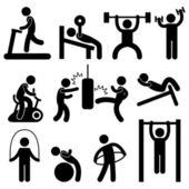 Muž atletické tělocvična gymnázia tělo cvičení cvičení piktogram — Stock vektor
