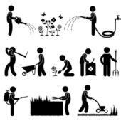 Símbolo de icono de jardinería trabajo planta flor pasto pictograma — Vector de stock