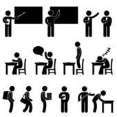 Escuela maestro alumno clase aula símbolo — Vector de stock