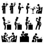 Homem restaurante garçom chef cliente ícone símbolo pictograma — Vetorial Stock