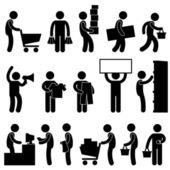L'uomo dello shopping carrello mercato al dettaglio vendita coda — Vettoriale Stock