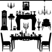 Dining Area Traditional Old Antique Furniture Interior Design — Stock Vector
