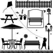 Infantil al aire libre de patio jardín campo parque — Vector de stock
