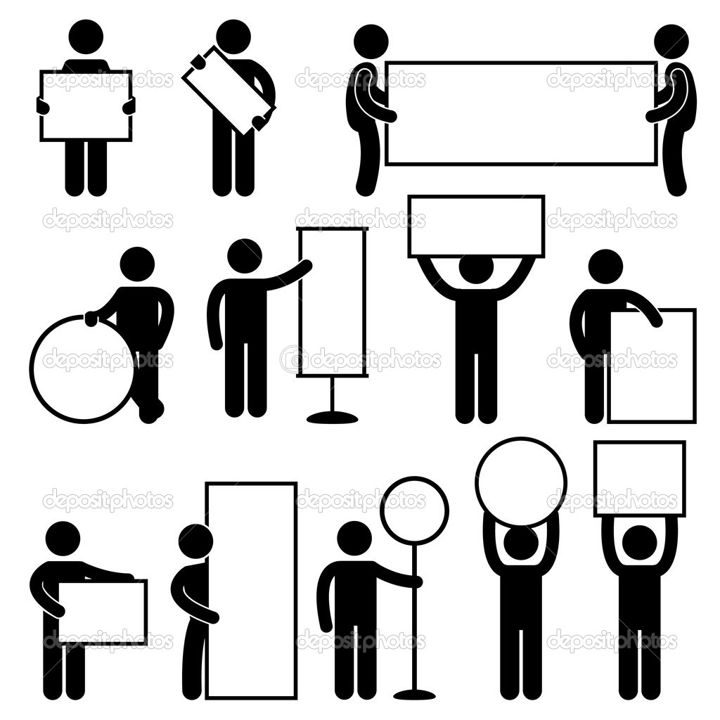 A set of human figure and pictogram carrying blank sign and banner. — Stock Vector #6646201