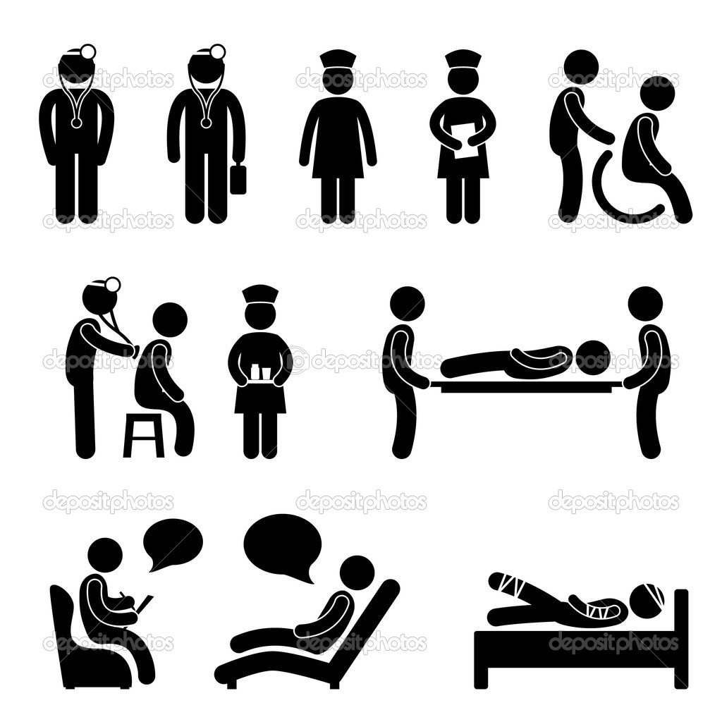 A set of human figure showings doctor, nurse, and patient in a hospital.  Stock Vector #6646204