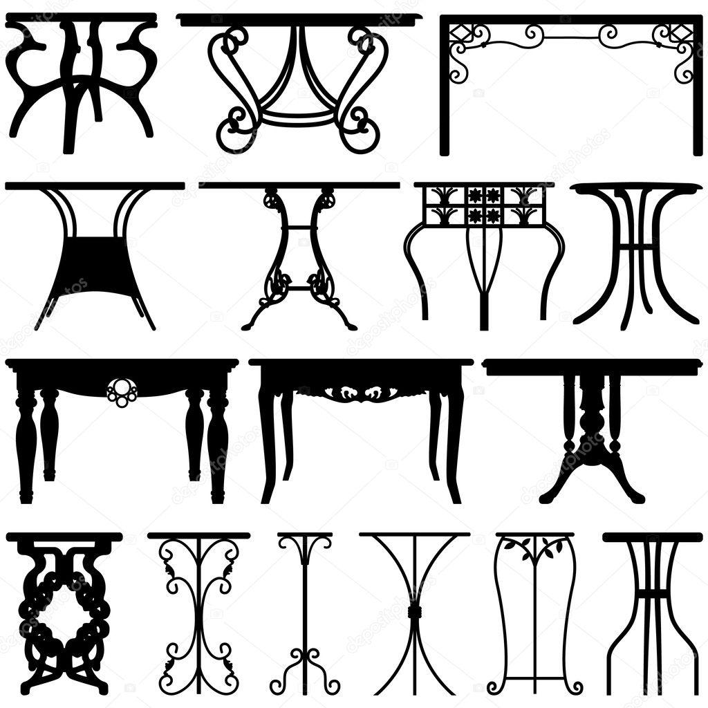 Table desk home furniture design stock vector leremy for Table design vector