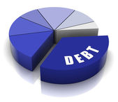 Debt Pie Chart — Stock Photo