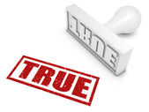 """""""TRUE"""" rubber stamp. Part of a rubber stamp series. — Stock Photo"""