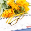 Diary and flowers — Stock Photo