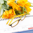 Diary and flowers — Stock Photo #5721885