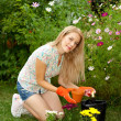 Gardener outside — Stock Photo