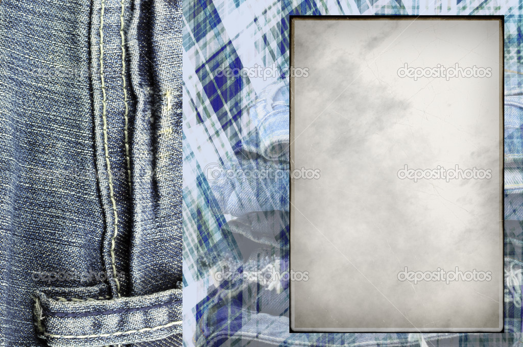Frame for photos with jeans  in scrapbooking style — Stock Photo #6695929