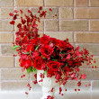 Beautiful red roses bunch in white vase — Stock Photo #5390098