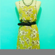 Vintage style woman dress on green background — Lizenzfreies Foto