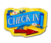 Check in letter wood board isolated — Stock Photo