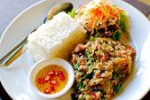 Thai style spicy fried pork with rice — Stockfoto