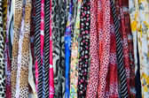 Variety of colorful fabric hair accessories — Stock Photo