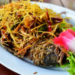 Deep fried fish with lemongrass - Stock Photo