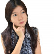 Asian woman thinking on white background — Stock Photo #6359526