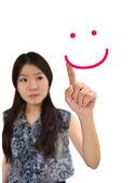 Portret kobiety Azji, rysunek twarz uśmiech — Zdjęcie stockowe