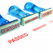 Passed letter on blue rubber stamp - Stock Photo