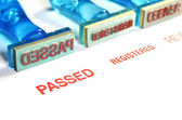 Passed letter on blue rubber stamp — Stock Photo