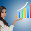 Stock Photo: Business woman and a graph