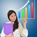 podnikání žena a graf — Stock fotografie