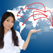 Royalty-Free Stock Photo: Business woman and world map network