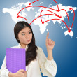 Business woman and world map network — Stok fotoğraf