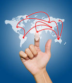 Hand with the map of social network — Stock Photo